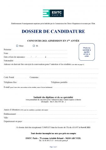 Dossier de candidature 2021 - TC1 (hors lycée français et procédure Parcoursup)