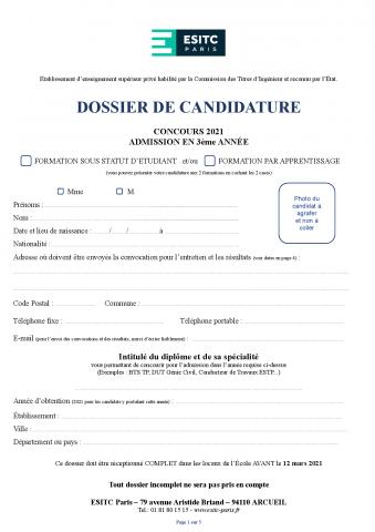 Dossier de candidature 2021 - TC3 - sous statut étudiant ou par apprentissage